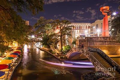 San Antonio River Walk After Dark Poster