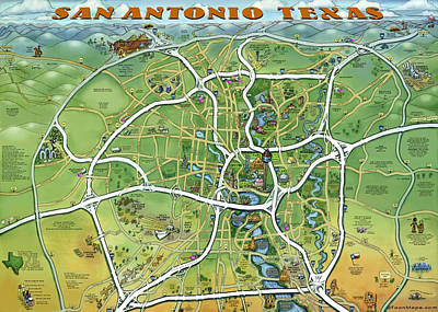 Poster featuring the painting San Antonio Texas Cartoon Map by Kevin Middleton