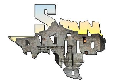 San Antonio Texas Typography - An Alamo Sunrise Poster by Gregory Ballos