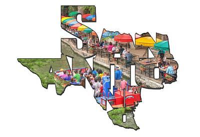 San Antonio Texas Typography - Colorful Riverwalk Of San Antonio Poster by Gregory Ballos