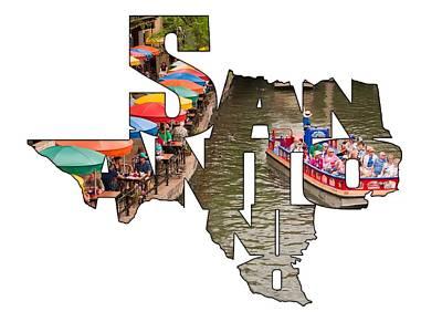 San Antonio Texas Typography - San Antonio Riverwalk Poster by Gregory Ballos