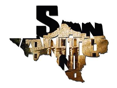 San Antonio Texas Typography - The Alamo At Night Poster by Gregory Ballos