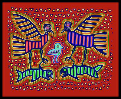 Poster featuring the digital art San Blas Kuna Bird Family With Fish by Vagabond Folk Art - Virginia Vivier