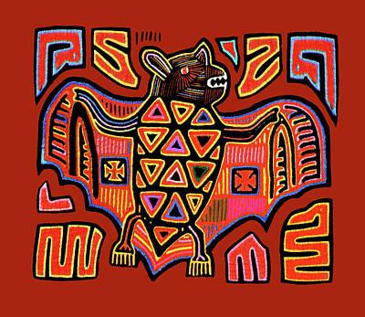 Poster featuring the digital art San Blas Kuna Indian Bat by Vagabond Folk Art - Virginia Vivier