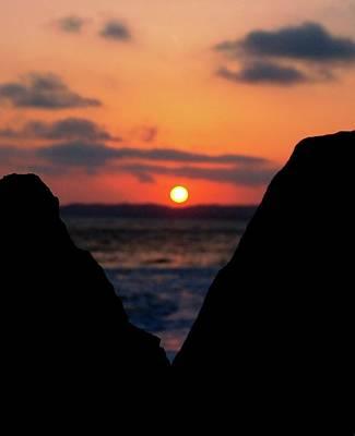 San Clemente Beach Rock View Sunset Portrait Poster