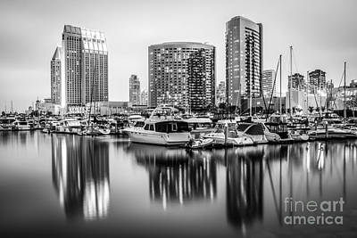San Diego At Night Black And White Picture Poster by Paul Velgos
