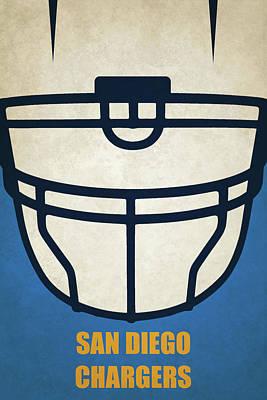San Diego Chargers Helmet Art Poster by Joe Hamilton