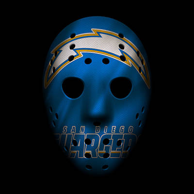 San Diego Chargers War Mask 3 Poster by Joe Hamilton