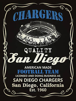 San Diego Chargers Whiskey Poster by Joe Hamilton