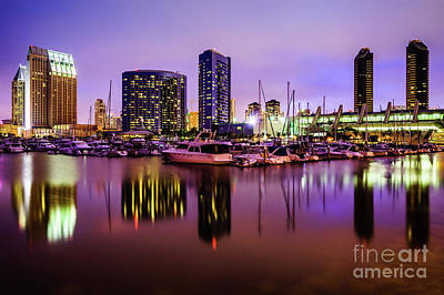 San Diego Marina At Night With Luxury Yachts Poster by Paul Velgos