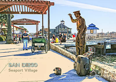 San Diego - Seaport Village Scene Poster