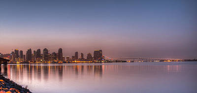San Diego Skyline And Coronado Bridge At Sunrise Poster by Connie Cooper-Edwards