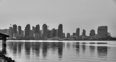 San Diego Skyline Black And White Poster by Connie Cooper-Edwards