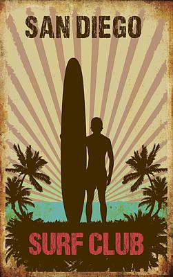San Diego Surf Club Poster by Greg Sharpe