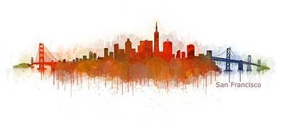 San Francisco City Skyline Uhq V4 Poster
