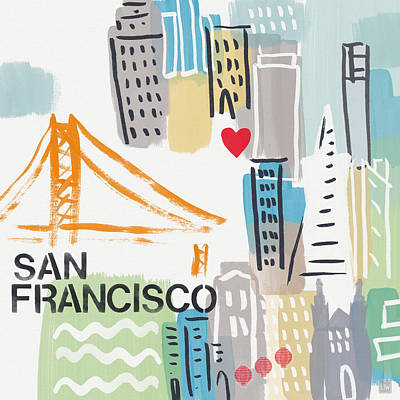 San Francisco Cityscape- Art By Linda Woods Poster by Linda Woods