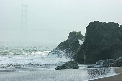 San Francisco Fog - Golden Gate Bridge Emerging From The Milky Mists Poster