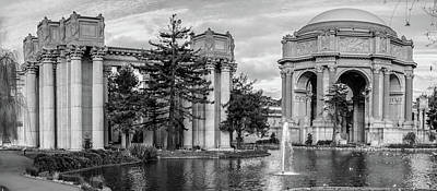 San Francisco Palace Of Fine Arts Panorama - Black And White Poster by Gregory Ballos