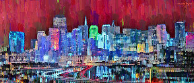 San Francisco Skyline 113 - Pa Poster by Leonardo Digenio