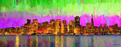 San Francisco Skyline 15 - Pa Poster by Leonardo Digenio
