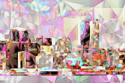 Poster featuring the photograph San Francisco Skyline In Abstract Cubism Eos 5d29399 20170326 by Wingsdomain Art and Photography