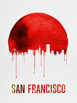 San Francisco Skyline Red Poster by Naxart Studio