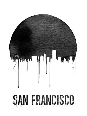 San Francisco Skyline White Poster by Naxart Studio