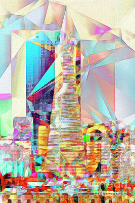 San Francisco Transamerica Tower In Abstract Cubism 20170326 V2 Poster by Wingsdomain Art and Photography