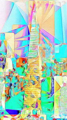 Poster featuring the photograph San Francisco Transamerica Tower In Abstract Cubism 20170326 by Wingsdomain Art and Photography