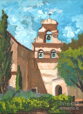 San Juan Bautista Mission Style Poster by Alia Outrey