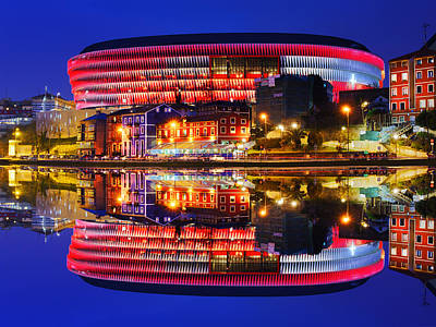 San Mames Stadium At Night With Water Reflections Poster