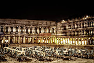 San Marco Cafes At Night Poster by Andrew Soundarajan