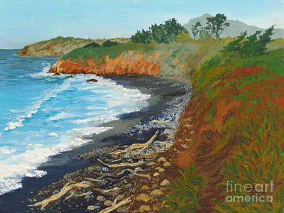 Poster featuring the painting San Simeon Ca Coast by Katherine Young-Beck