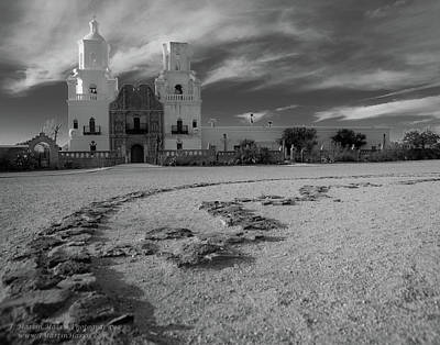 San Xavier Mission Clouds Poster