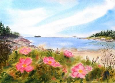 Sand Beach Roses Poster