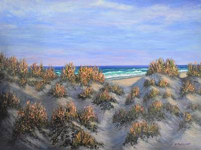 Sand Dunes Sea Grass Beach Painting Poster