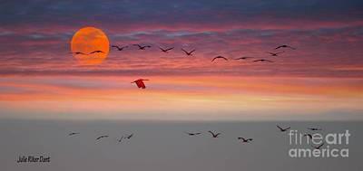 Sand Hill Cranes At Sunset/moonrise Poster by Julie Dant