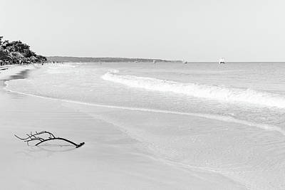 Sand Meets The Sea In Black And White Poster
