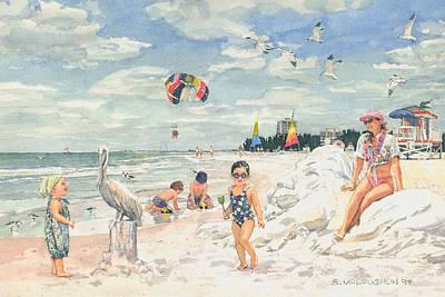 Sand Sculpture On Siesta Public Beach Poster by Shawn McLoughlin