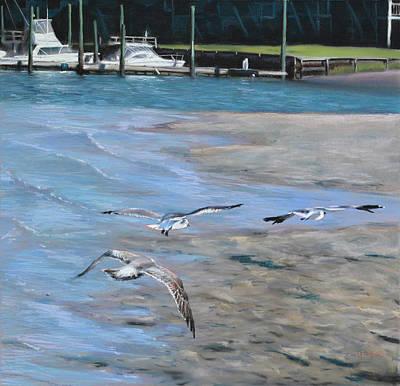 Sandbar Skimming Seagulls Poster