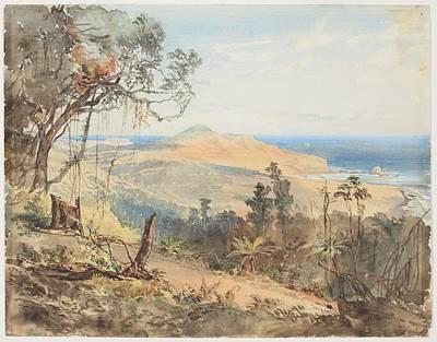 Sandfly Bay And Gull Rock Near Dunedin, 1865, By Nicholas Chevalier Poster