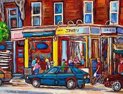 Sandwich Shop Montreal Memories Java U Original Street Scene Painting Canadian Art Carole Spandau    Poster