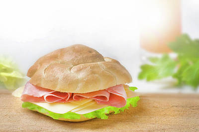 Sandwich With Ham And Green Lettuce And Cheese Poster by Matjaz Preseren