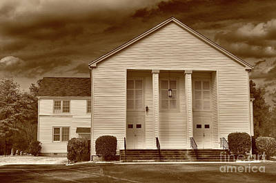 Sandy Level Baptist In Sepia Tones Poster by Skip Willits