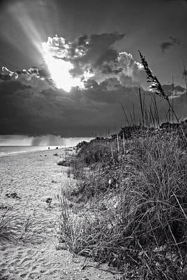Sanibel Dune At Sunset In Black And White Poster