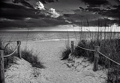 Sanibel Island Beach Access In Black And White Poster