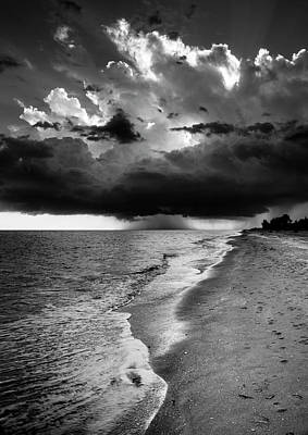 Sanibel Island Rain In Black And White Poster
