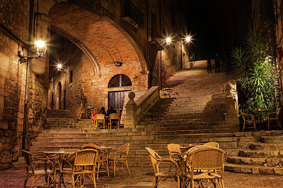 Sant Domenec Stairs In Girona At Night Poster
