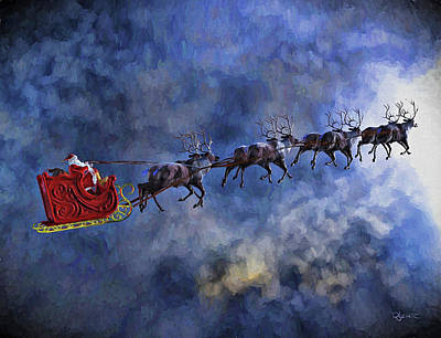 Santa And Reindeer Poster by Dave Luebbert