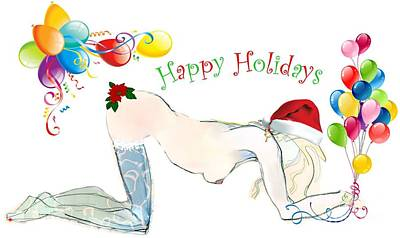 Poster featuring the painting Santa Baby - Holiday Cards by Carolyn Weltman